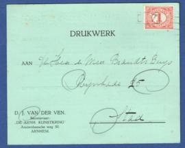Bestellerstempel op zegel. Geen vertrekstempel. Op firma briefkaart Arnhem.
