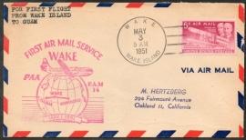 FIRST AIR MAIL SERVICE WAKE. FIRST FLIGHT FROM WAKE ISLAND TO GUAM. 1 MEI 1951.
