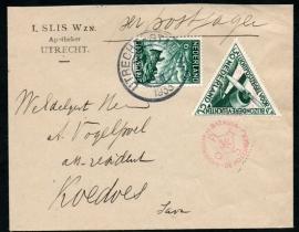 Firmacover met kortebalkstempel UTRECHT-STATION per Postjager naar Nederlands Indië.