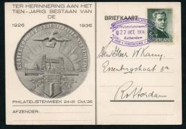ROTTERDAMSCHE PHILATELISTEN VEREENIGING. Philatelistenweek 1926 - 1936. Op bijbehorend briefkaart.
