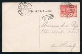 Briefkaart met langebalkstempel / Martinstempel LEEUWARDEN 3 naar `s GRAVENHAGE. Op ansichtkaart LEEUWARDEN, Prinsentuin.