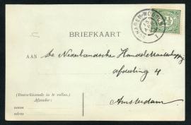 Briefkaart met grootrondstempel (traject) SCHAGEN - WOGNUM naar Amsterdam.
