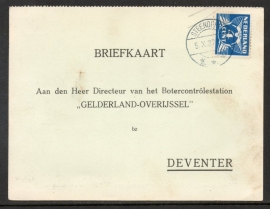 Firma briefkaart DEVENTER 1937 met langebalkstempel STEENDEREN naar Deventer.