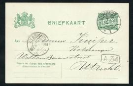 G - Briefkaart met langebalkstempel / martinstempel DORDRECHT 1 naar UTRECHT.