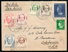Luchtpostcover met kortebalkstempel `s GRAVENHAGE naar California U.S.A.