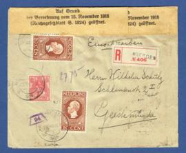 Censuur cover mengfrankering met jubileum 1913 van WIERDEN naar Geestemunde, Duitsland. Aangetekend