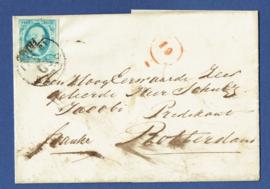 DELFT 1861. Briefomslag van DELFT naar ROTTERDAM.