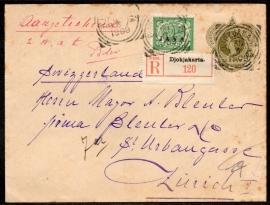 G - Cover met vierkantstempel DJOKJAKARTA en JAVA opdruk postzegel naar Zurich. Aangetekend.