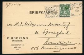 Firma briefkaart ENSCHEDE 1934 met vlagstempel ENSCHEDE naar Amsterdam.
