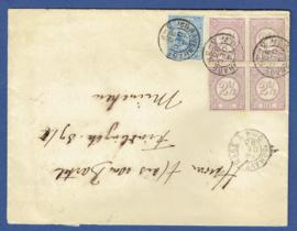 Cover met 2,5 cent cijfer in blok van 4 met 5 cent hangend haar van 's GRAVENHAGE naar Duitsland.