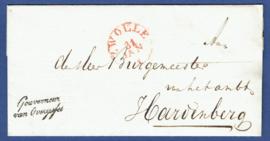 ZWOLLE 1832. Vouwbrief GOUVERNEUR van OVERIJSSEL. Van ZWOLLE naar HARDENBERG.