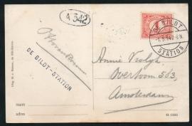 Briefkaart met langebalkstempel en langstempel DE BILDT - STATION . Op ansichtkaart De Bilt-Station, Huize Jachtlust.