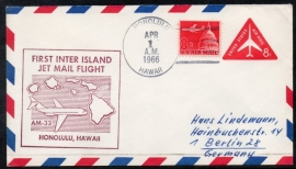 FIRST INTER ISLAND JET MAIL FLIGHT HONOLULU, HAWAII. 1 APRIL 1966.