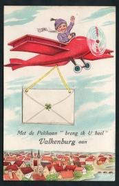 VALKENBURG, Met de Pelikaan breng ik u heel Valkenberg aan. Met 10 mini ansichten achter de envelop. Gelopen kaart.