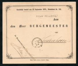 Dienst, Aan de  Burgemeester met langstempel NIEUW-HELLEVOET en kleinrondstempel HELLEVOETSLUIS naar Muidenhoorn.