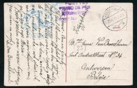 Briefkaart met langebalkstempel HARDERWIJK naar België. Krijgsdienst. op ansichtkaart Harderwijk. Internering.