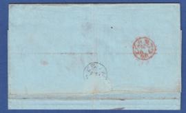 Nvph 6,  15 cent op vouwbrief van ROTTERDAM via LONDEN naar BELFAST.