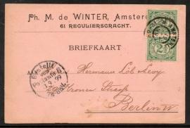 Firma briefkaart AMSTERDAM 1899 met grootrondstempel AMSTERDAM naar Berlijn.