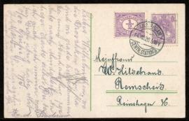 Briefkaart met langebalkstempel AMSTERDAM CENTR.STATION 3 naar Duitsland. op ansichtkaart Amsterdam.