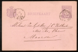 G - Briefkaart met kleinrondstempel HELLEVOETSLUIS naar MAARSEN.