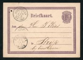 Firma briefkaart AMSTERDAM 1873. G - briefkaart met 2-letterstempel AMSTERDAM naar EINDHOVEN. Met bedrijfsnaam inslag.