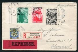 Cover met met langebalkstempel ROTTERDAM Avenue Concordia 2 naar OLDENZAAL. A.N.V.V. zegels. Aangetekend en Expresse.