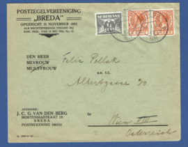 Firma cover met roltanding mengfrankering van BREDA naar Wien, Oostenrijk.