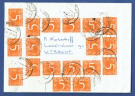 Cover met 18x 5 cent cijfer v. Krimpen. Leuk maakwerk. Afgestempeld Utrecht.