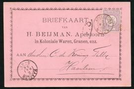 Firma briefkaart APELDOORN 1892 met kleinrondstempel APELDOORN naar HAARLEM.