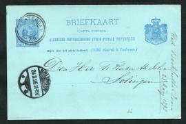 G - Briefkaart met dubbelringstempel AMSTERDAM naar Duitsland.