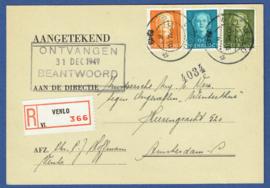 Briefkaart met kortebalkstempel VENLO naar Amsterdam. Aangetekend.