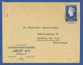 Firma cover IJMUIDEN 1948 van IJMUIDEN naar Luebeck, Duitsland.