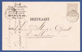 Firma briefkaart BERGUM (Friesland) 1894 met kleinrondstempel BERGUM naar ENKHUiZEN.