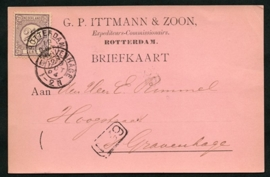 Firma briefkaart ROTTERDAM 1894 met kleinrondstempel ROTTERDAM naar 's GRAVENHAGE.