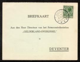 Firma briefkaart DEVENTER 1937 met langebalkstempel NIJKERK naar Deventer.