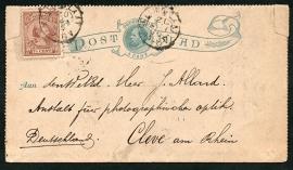 Postblad G 1 met bijfrankering met kleinrondstempel COLIJNSPLAAT naar Cleve, Duitsland.