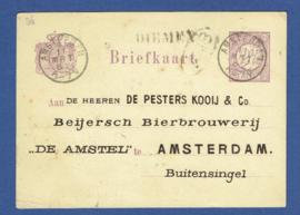 Particulier postwaardestuk AMSTERDAM 1882. DE PESTERS KOOIJ & Co. Beijersch Bierbrouwerij DE AMSTEL, AMSTERDAM.  DIEMEN per schuit naar AMSTERDAM. AMSTELBIER.