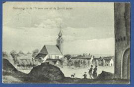 OOSTVOORNE, In de 17e eeuw van uit de Burcht gezien. Gelopen kaart.