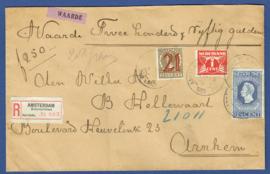 Aangetekende waarde cover met leuke mengfrankering met roltanding en jubileum 1913 van AMSTERDAM naar ARNHEM.