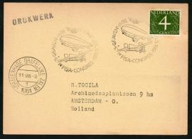 's GRAVENHAGE 1e FISA-CONGRES 11 augustus 1961. Met datumstempel Grafelijke Zalen.