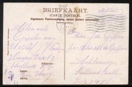 Vlagstempel `s GRAVENHAGE naar Rilland, op ansichtkaart `s Gravenhage.