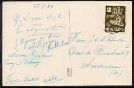 Briefkaart met leuke enkelfrankering verzonden naar Amsterdam. Op ansichtkaart ASSEN.