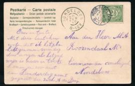 Briefkaart met kleinrondstempel HOOG-BLOKLAND naar NOORDELOOS.