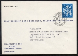 Cover Filatelistische Dienst met idem Afstempeling naar Duitsland.