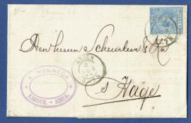 Firma vouwbrief ASSEN 1894 van ASSEN naar 's GRAVENHAGE.