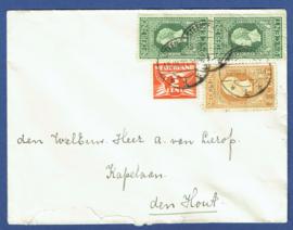 Cover met jubileum 1913 met langebalkstempel STEENBERGEN naar Den Hout.