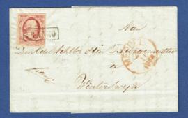 Hoogeveen 1861. Vouwbrief van HOOGEVEEN via MEPPEL naar WINTERSWIJK.