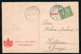 Firma briefkaart 's HERTOGENBOSCH 1914 met langebalkstempel  's HERTOGENBOSCH naar HELPMAN.