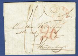 GOOR 1838. Gechreven distributiekantoor GOOR op vouwbrief van GOOR naar Hardenberg via DEVENTER.
