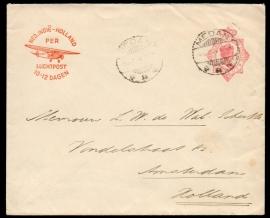 G - Brief met langebalkstempel MEDAN naar Amsterdam.